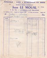 LAMBALLE JEAN LE MOUAL EPICERIE VINS SPIRITUEUX EN GROS ANNEE 1955 AVEC CONGE - Non Classificati