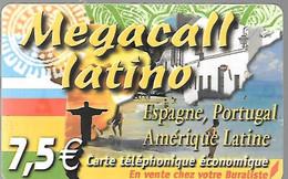 CARTE-PREPAYEE-DELTA-MULTIMEDIA-MEGACALL-LATINO-7 .5€-Amerique Latine/Espagne-30/12/2007-Gratté-TBE     - - Altre Schede Prepagate