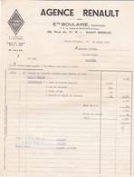 SAINT BRIEUC ETS BOULAIRE AGENCE RENAULT ANNEE 1957 A MR GICQUEL ALIMENTATION PLAINTEL - Non Classificati