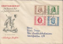 DDR 311-314, FDC, Berühmte Persönlichkeiten, 1952 - FDC: Briefe