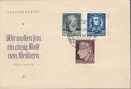 DDR 464-466, FDC, Friedrich Schiller, 1955 - FDC: Briefe