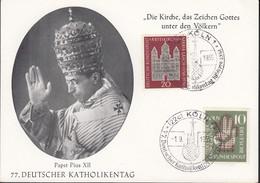 BRD 238-239 MiF, Auf Sonderkarte Mit Sonderstempel: Köln 77. Dt. Katholikentag 1.9.1956 - Briefe U. Dokumente
