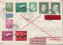 BRD 179x, 183x, 201, 204, 205-206, 209, 211, MiF, Auf Eilbrief Mit Stempel: Wetzlar 4.6.1955 - Briefe U. Dokumente
