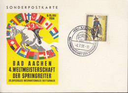 BERLIN 131 EF, Auf Sonderkarte Mit Sonderstempel: Aachen Springreiter WM 6.7.1956 - Briefe U. Dokumente
