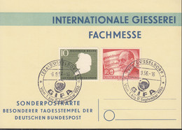 BERLIN 156, BRD 229 MiF, Auf Sonderkarte Int. Giesserei Fachmesse, Mit Sonderstempel: Düsseldorf GIFA 6.9.1956 - Briefe U. Dokumente