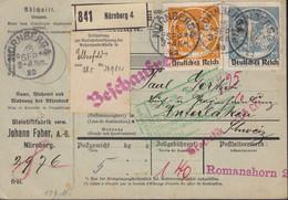 DR  134 I, 136 I MiF Geprüft Paketkarte Der Fa. Faber, Mit Stempeln, Aufklebern Und Lochung Perfin, Nürnberg 16.SEP 1920 - Infla
