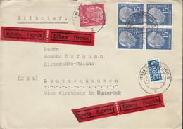 BRD  184 X Wv 4erBlock, 185 X MiF, Auf Eilbrief, Gestempelt Würzburg 22.10.1955 - Briefe U. Dokumente