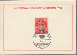 BERLIN 118 Auf Sonderkarte Mit Sonderstempel: Frankfurt Main Int. Frankfurter Messe 5.9.1954 - Briefe U. Dokumente