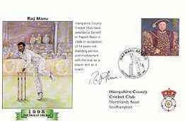 Great Britain 1998 Raj Maru Benefit Illustrated Cover With Special 'Cricket' Cancel, Signed By Raj Maru - 1991-2000 Dezimalausgaben