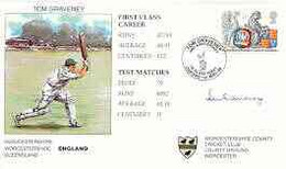 Great Britain 1998 Tom Graveney 50th Anniversary Illustrated Cover With Special 'Cricket' Cancel, Signed By Tom Graveney - 1991-2000 Dezimalausgaben