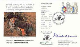 Great Britain 1998 Year Of The Tiger Illustrated Cover (by David Shepherd) With Special 'Elephant' Cancel, Signed By Dav - 1991-2000 Dezimalausgaben