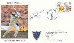Great Britain 1999 Neil Lenham Benefit Illustrated Cover With Special 'Cricket' Cancel, Signed By Neil Lenham, From A Li - 1991-2000 Dezimalausgaben