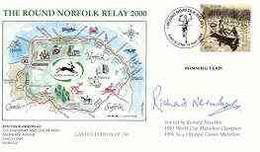 Great Britain 2000 Round Norfolk Relay Race Illustrated Cover With Special 'Running' Cancel, Signed By Richard Nerurkar - 1991-2000 Dezimalausgaben