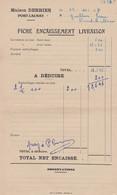 PORT LAUNAY DERRIEN ET FILS EPICERIE EN GROS FICHE ENCAISSEMENT LIVRAISON ANNEE 1957 - Non Classificati
