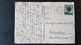 Salzburg - Used In Linz - Sent To Munchen - Ein Fuhrer 6 Rpf Briefmarke 1938 - Gebruikt