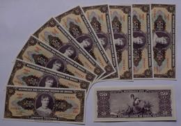 Brasilien - Brazil 10 Stück 5 Centavos Auf 50 Cr. Banknote 1966-67 UNC Pick 184 - Andere - Amerika