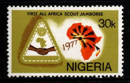 S007T - NIGERIA, 1977 - SC#: 351 - MNH - FIRST ALL AFRICA SCOUT JAMBOREE - Unused Stamps