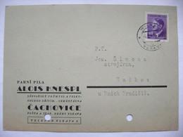 Firmen Postkarte 1943 Wilkau Vlkava (Fa. Alois Knespl Cachovice), Hitler 60 H Böhmen U. Mähren - Briefe U. Dokumente