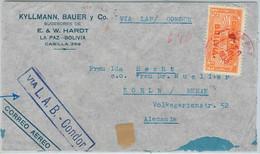 65412 - BOLIVIA -  Postal History -  AIRMAIL COVER To GERMANY: Via CONDOR ! 1938 - Bolivien