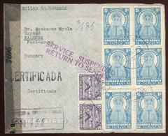 BOLIVIA 1945. Ajánlott Levél Kalocsára Címezve , A Hadi Helyzet Miatt Visszaírányítva. érdekes! - Bolivien