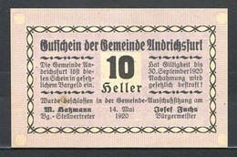 344-Andrichsfurt 10, 20 Et 50h 1920 - Austria