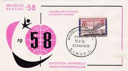 Enveloppe FDC 1047 Bruxelles 58 Exposition Universelle Congrès Des étudiants Studenten Congres - 1951-60