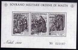 SMOM SOVRANO ORDINE MILITARE DI MALTA 1969 NATALE CHRISTMAS NOEL WEIHNACHTEN NAVIDAD BLOCCO FOGLIETTO BLOCK SHEET MNH - Sovrano Militare Ordine Di Malta