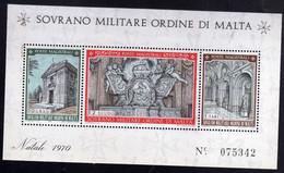 SMOM SOVRANO ORDINE MILITARE DI MALTA 1970 NATALE CHRISTMAS NOEL WEIHNACHTEN NAVIDAD BLOCCO FOGLIETTO BLOCK SHEET MNH - Sovrano Militare Ordine Di Malta
