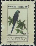 Brésil Timbre Fictif Autocollant Oiseau Anser Cyanopsitta Spixii Ara De Spix Scrapbooking - Scrapbooking