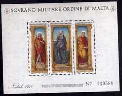 SMOM SOVRANO ORDINE MILITARE DI MALTA 1971 NATALE CHRISTMAS NOEL WEIHNACHTEN NAVIDAD BLOCCO FOGLIETTO BLOCK SHEET MNH - Sovrano Militare Ordine Di Malta
