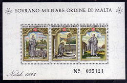 SMOM SOVRANO ORDINE MILITARE DI MALTA 1973 NATALE CHRISTMAS NOEL WEIHNACHTEN NAVIDAD BLOCCO FOGLIETTO BLOCK SHEET MNH - Sovrano Militare Ordine Di Malta
