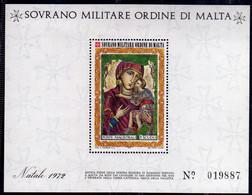 SMOM SOVRANO ORDINE MILITARE DI MALTA 1972 NATALE CHRISTMAS NOEL WEIHNACHTEN NAVIDAD 3t BLOCCO FOGLIETTO BLOCK SHEET MNH - Sovrano Militare Ordine Di Malta