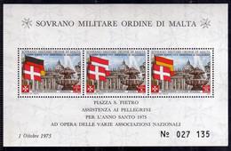 SMOM SOVRANO ORDINE MILITARE DI MALTA 1975 ASSISTENZA AI PELLEGRINI PER L'ANNO SANTO BLOCCO FOGLIETTO BLOCK SHEET MNH - Sovrano Militare Ordine Di Malta