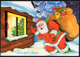 E2218 - Glückwunschkarte Weihnachten Weihnachtsmann Santa Claus Teddy Geschenke - Santa Claus