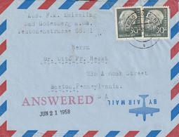 Allemagne Lettre Pour Les Etats Unis 1958 - Briefe U. Dokumente