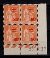 Coin Daté - YV 359 N** Paix Surchargé Du 28.8.37 - 1930-1939