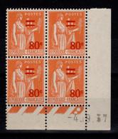 Coin Daté - YV 359 N** Paix Surchargé Du 4.9.37 - 1930-1939