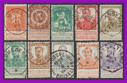 N°108-117 - ARMOIRIES & S.M. Albert Ier - Série Superbement Oblitérée - 1912 Pellens