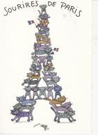 Carte Postale Neuve: La TOUR EIFFEL En Chats. Sourires De Paris, Humour - Eiffelturm