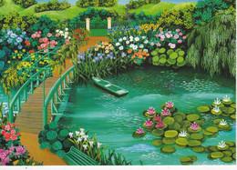 Carte Postale Neuve: Fondation CLAUDE MONET, Le Jardin De Monet Par Monique Valdeneige - Eiffelturm