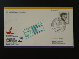 Lettre Premier Vol First Flight Cover Frankfurt --> Bogota Colombia Lufthansa 1973 Ref 101599 - Brieven En Documenten