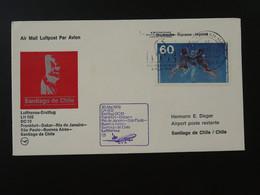 Lettre Premier Vol First Flight Cover FRankfurt --> Santiago Chile Lufthansa 1979 Ref 101607 - Brieven En Documenten