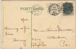 54358  -  CANADA -  POSTAL HISTORY  -  POSTCARD To USA 1907 - Covers & Documents