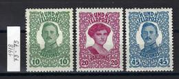 Österreich-Ungarische Feldpost 1918; MiNr. 73 - 75* - Unused Stamps