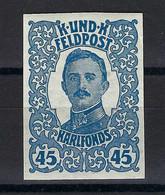 Österreich-Ungarische Feldpost 1918; MiNr. 75, 45 Heller Geschnitten !  (imperforated) - Unused Stamps