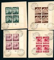 Deutsches Reich Michel Nummer 869 - 872 Gestempelt 4er Blöcke Auf Papier - Gebruikt