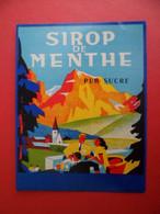 Etiquette Sirop Sz MENTHE  Pur Sucre - Illustration L. RUEL Poitiers N° 719 - Fruits & Vegetables