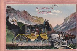 OUDE  POSTKAART ZWITSERLAND -  LOCARNO  - POSTKOETS - MET KLEINE FOTOOTJES - TI Ticino