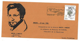 SOUVENIR PHILATELIQUE INAUGURATION GALERIE DAVID D'ANGERS PRESENCE MR MITTERAND PRESIDENT DE LA REPUBLIQUE 22 MAI 1984 - Inaugurazioni