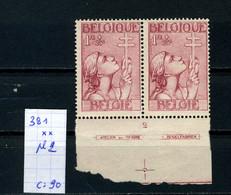 Belgique Série Croix De Lorraine N° De Pl à Cheval N° 381 (x2) Pl 2 XX MNH - ....-1960